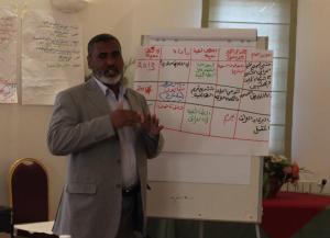 Jalal Dhiab tijdens een bijeenkomst van IKV Pax Christi in maart, 2013