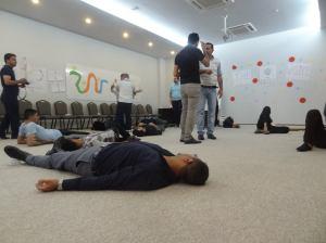 Oefenen voor de flashmob