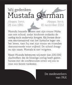 advertentie, geplaatst in de Telegraaf op 27/10