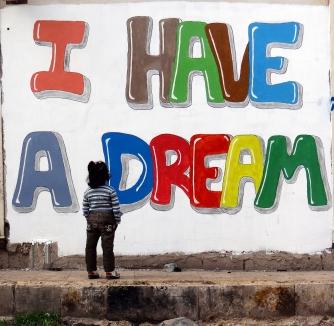 meisje kijkt naar I have a dream